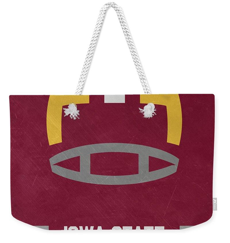 Cyclones Weekender Tote Bag featuring the mixed media Iowa State Cyclones Vintage Football Art by Joe Hamilton