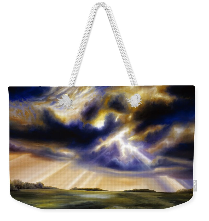Sunrise; Sunset; Power; Glory; Cloudscape; Skyscape; Purple; Red; Blue; Stunning; Landscape; James C. Hill; James Christopher Hill; Jameshillgallery.com; Ocean; Lakes; Storms; Lightning; Rain; Rays; God Weekender Tote Bag featuring the painting Iowa Storms by James Christopher Hill