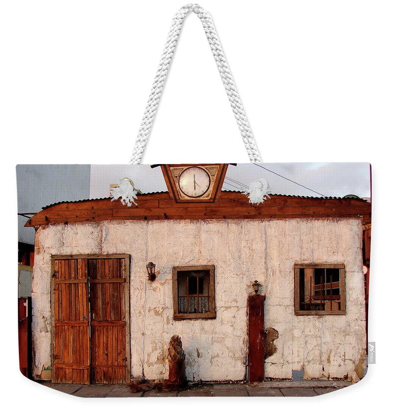 Iquique Weekender Tote Bag featuring the photograph Iquique Chile Cantina by Brett Winn