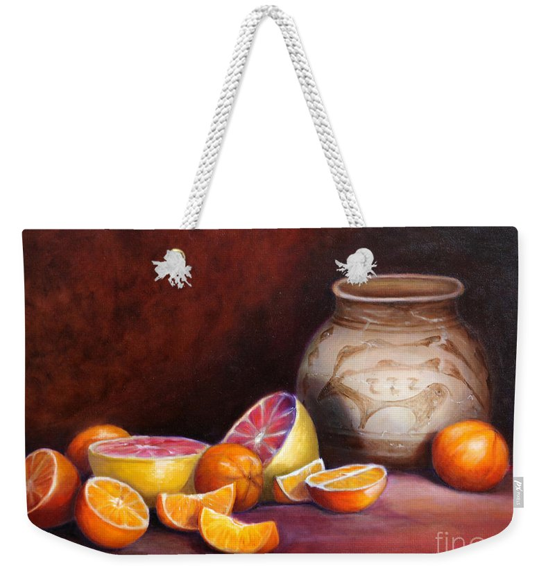 Still Life Paintings Weekender Tote Bag featuring the painting Iranian Still Life by Portraits By NC