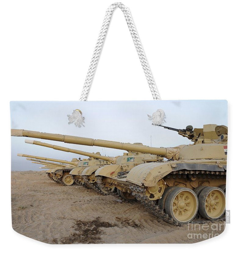 Iraqi Army Weekender Tote Bag featuring the photograph Iraqi T-72 Tanks From Iraqi Army by Stocktrek Images