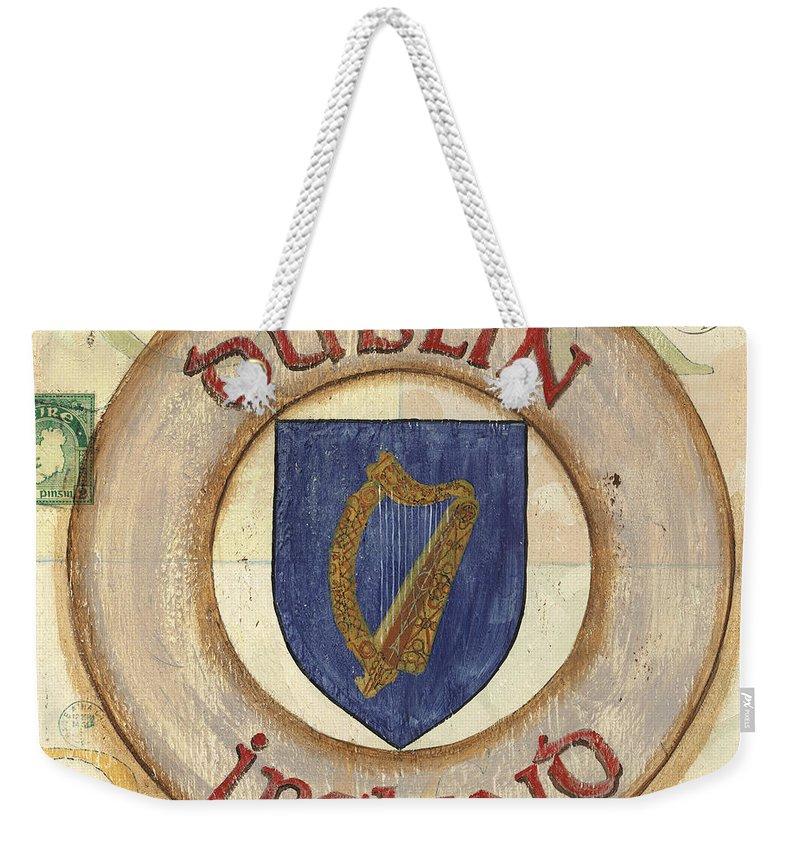 Ireland Weekender Tote Bag featuring the painting Ireland Coat of Arms by Debbie DeWitt