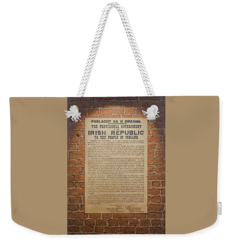 Ireland Weekender Tote Bag featuring the painting Irish Republic 1916 Proclamation of Independence by Brian McCarthy