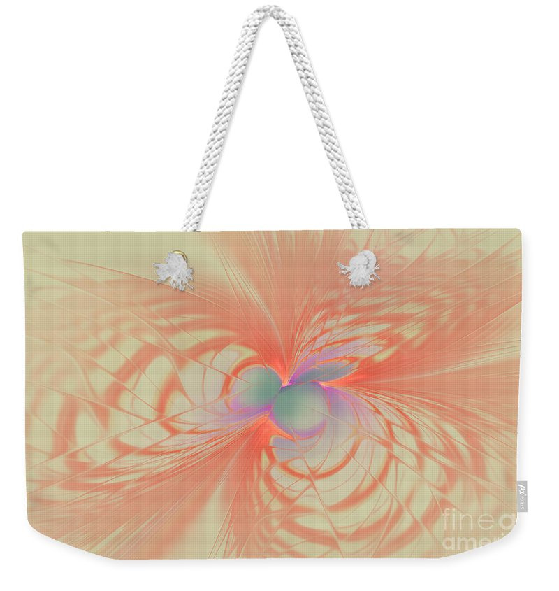 Fractal Weekender Tote Bag featuring the mixed media Iridescent Pink by Deborah Benoit