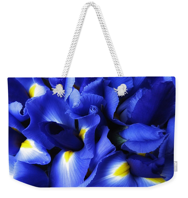 Iris Weekender Tote Bag featuring the photograph Iris Abstract by Jessica Jenney