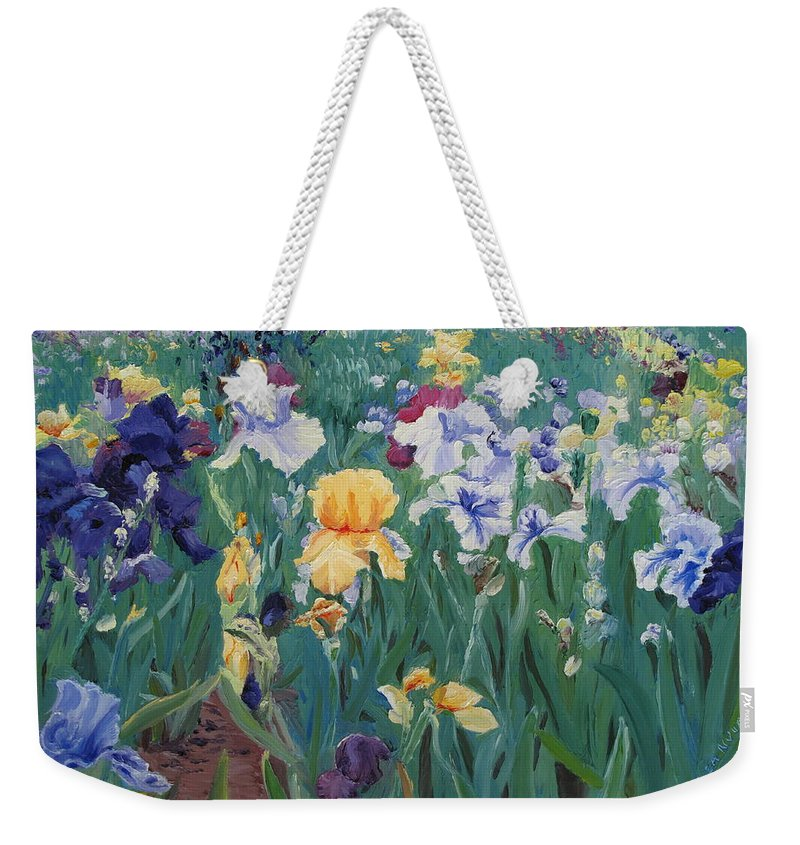 Flower Weekender Tote Bag featuring the painting Iris Abun-dance by Lea Novak