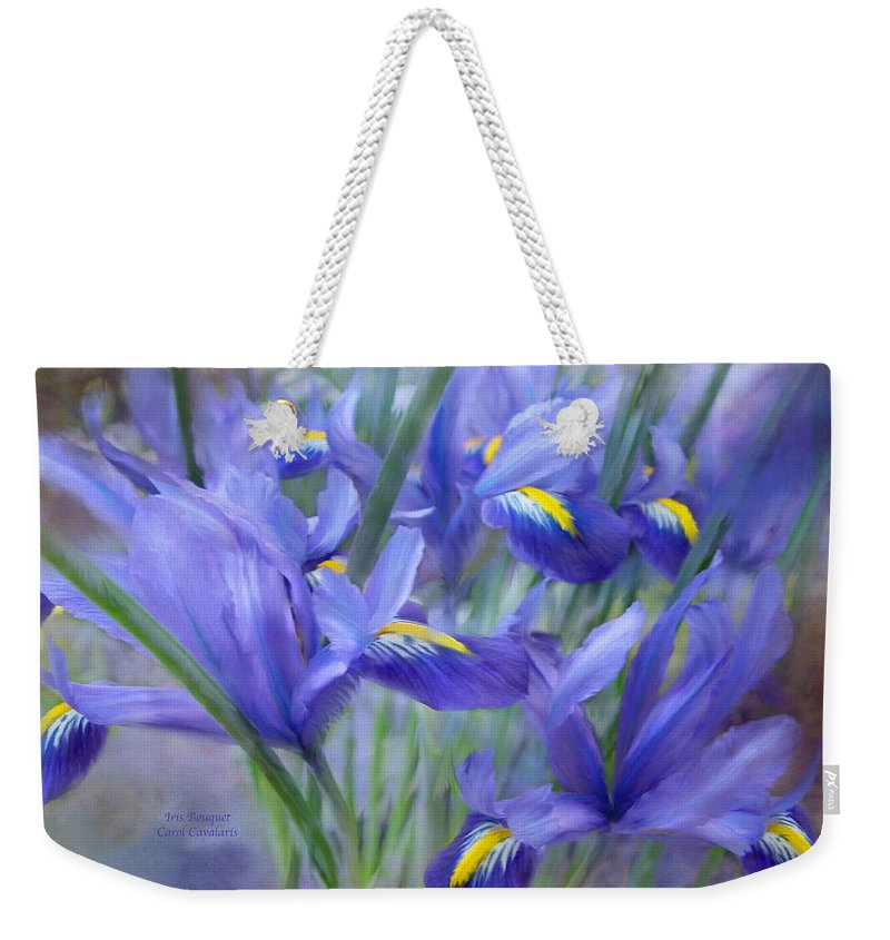 Iris Weekender Tote Bag featuring the mixed media Iris Bouquet by Carol Cavalaris