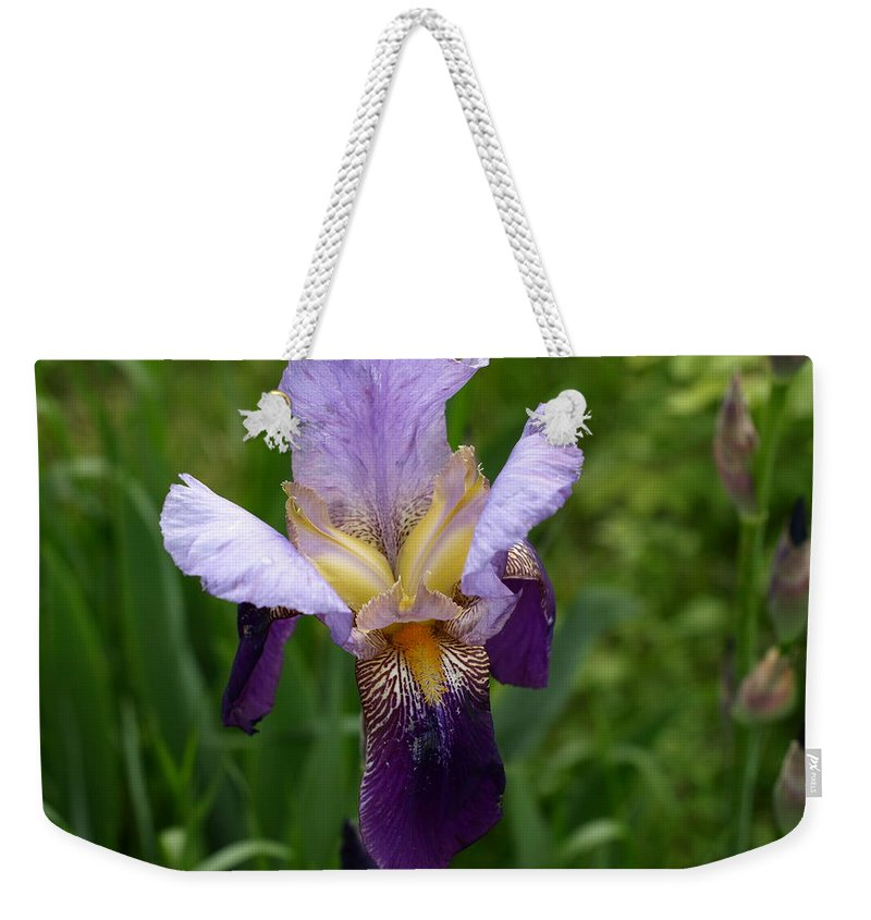 Flower Weekender Tote Bag featuring the photograph Iris by DeeLon Merritt