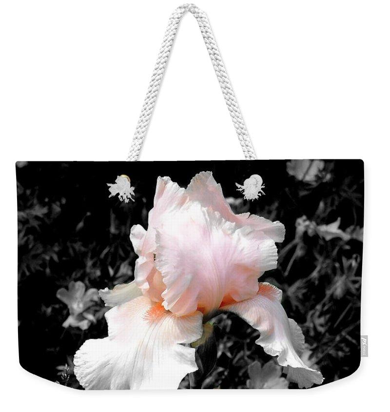 Flower Weekender Tote Bag featuring the photograph Iris Emergance by Steve Karol