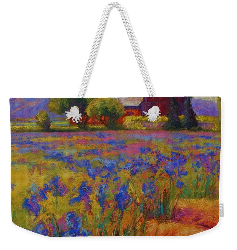 Pastel Weekender Tote Bag featuring the painting Iris Field by Marion Rose