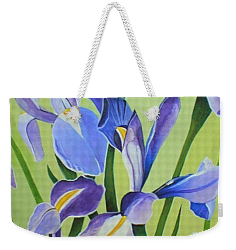 Flower Weekender Tote Bag featuring the painting Iris Fields - Center Panel by Helena Tiainen