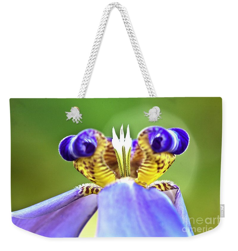 Macro Weekender Tote Bag featuring the photograph Iris Flower by Heiko Koehrer-Wagner