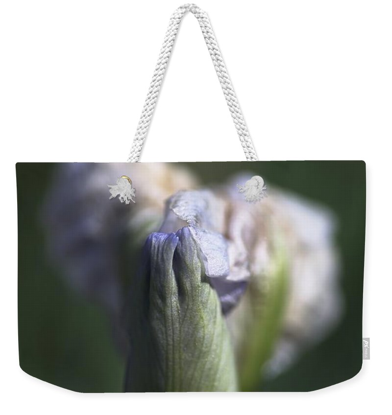 Iris Weekender Tote Bag featuring the photograph Iris Flower Starts To Reveal by Joy Watson