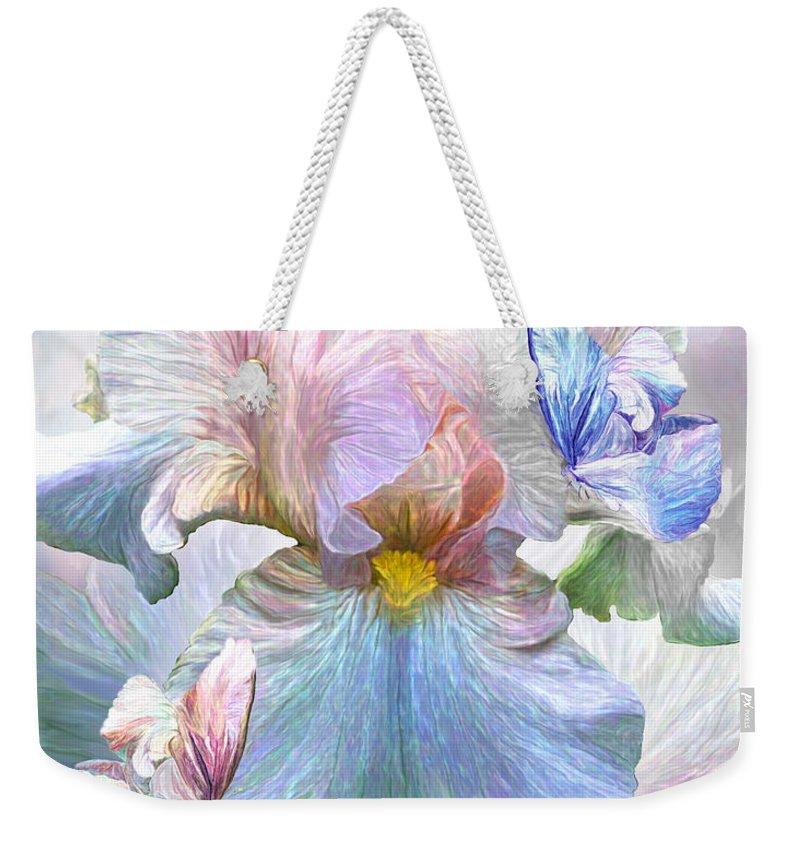 Carol Cavalaris Weekender Tote Bag featuring the mixed media Iris - Goddess Of Serenity by Carol Cavalaris
