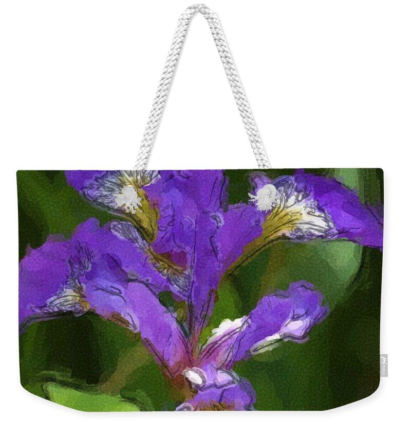 Digital Photograph Weekender Tote Bag featuring the photograph Iris II by David Lane