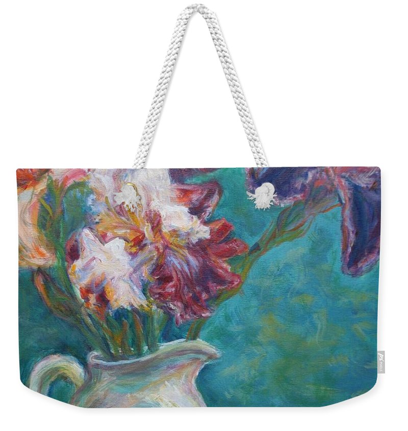 Impressionist Weekender Tote Bag featuring the painting Iris Medley - Original Impressionist Painting by Quin Sweetman