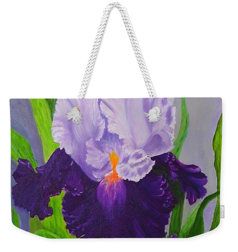 Floral Painting Weekender Tote Bag featuring the painting Iris by Peggy Holcroft