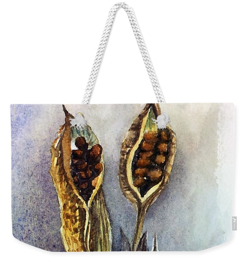 Iris Seeds Weekender Tote Bag featuring the painting Iris Pods Small by Kathy Sturr