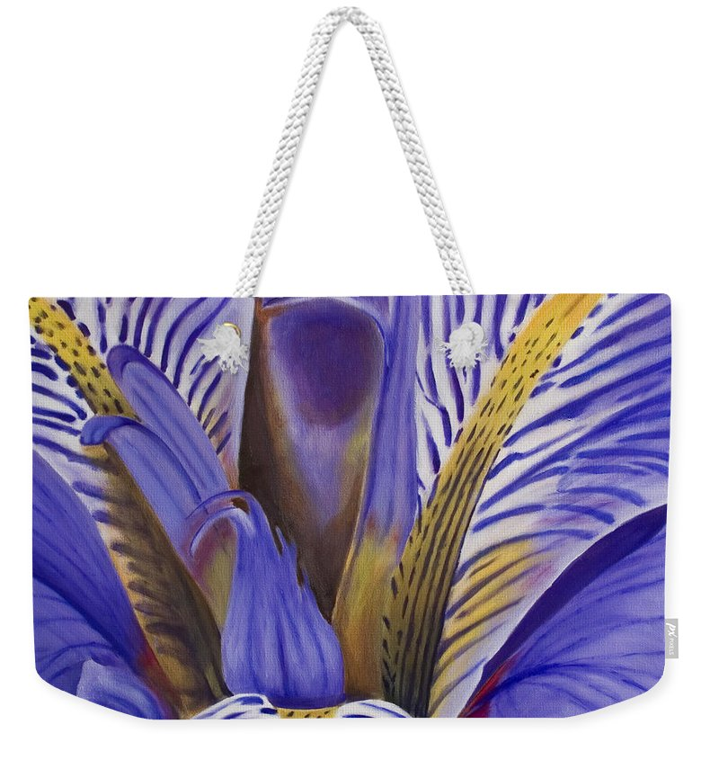 Flower Weekender Tote Bag featuring the painting Iris by Rob De Vries