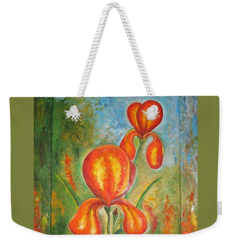 Iris Weekender Tote Bag featuring the painting Iris by Stella Velka