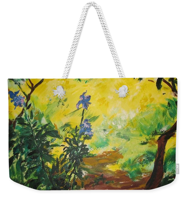 Sunlight Weekender Tote Bag featuring the painting Irises And Sunlight by Lizzy Forrester