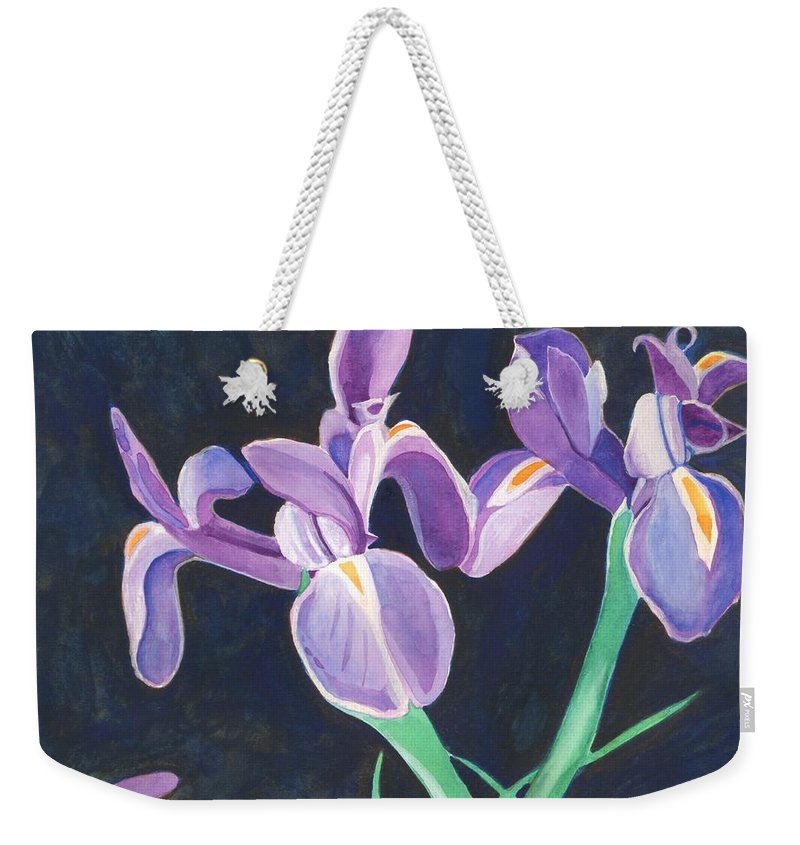 Iris Weekender Tote Bag featuring the painting Irises by Helena Tiainen