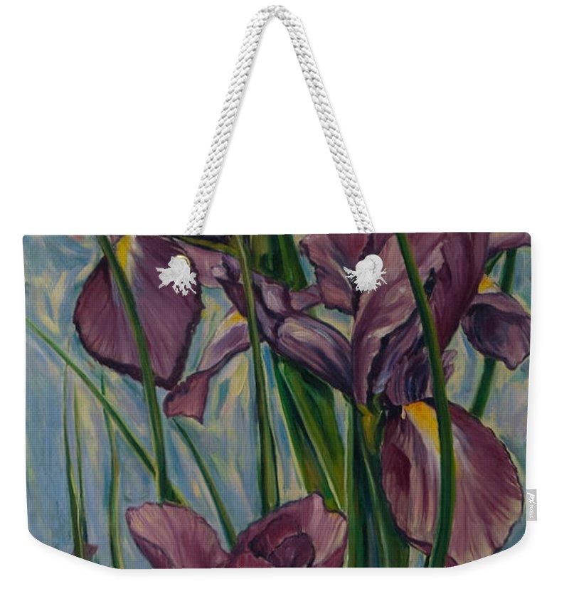 Flowers Weekender Tote Bag featuring the painting Irises by Rick Nederlof