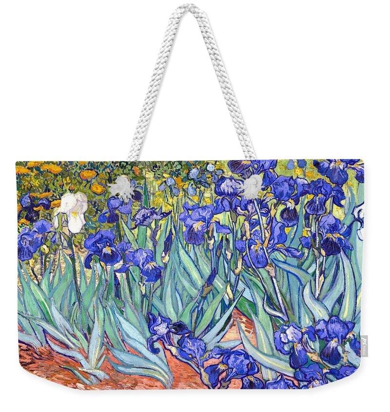 Van Gogh Weekender Tote Bag featuring the painting Irises by Van Gogh