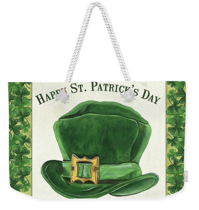 Irish Weekender Tote Bag featuring the painting Irish Cap by Debbie DeWitt