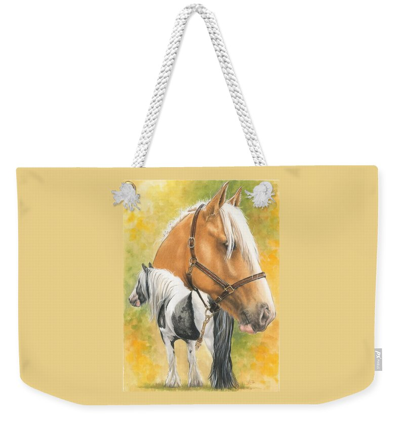 Draft Horse Weekender Tote Bag featuring the mixed media Irish Cob by Barbara Keith