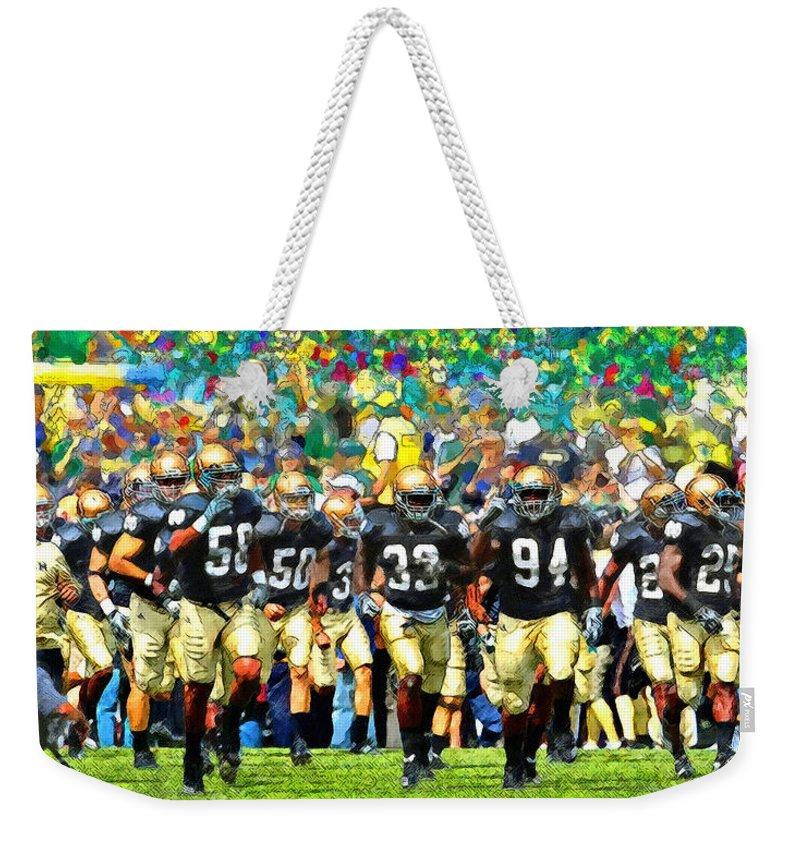 Irish Weekender Tote Bag featuring the painting Irish Run to Victory by John Farr