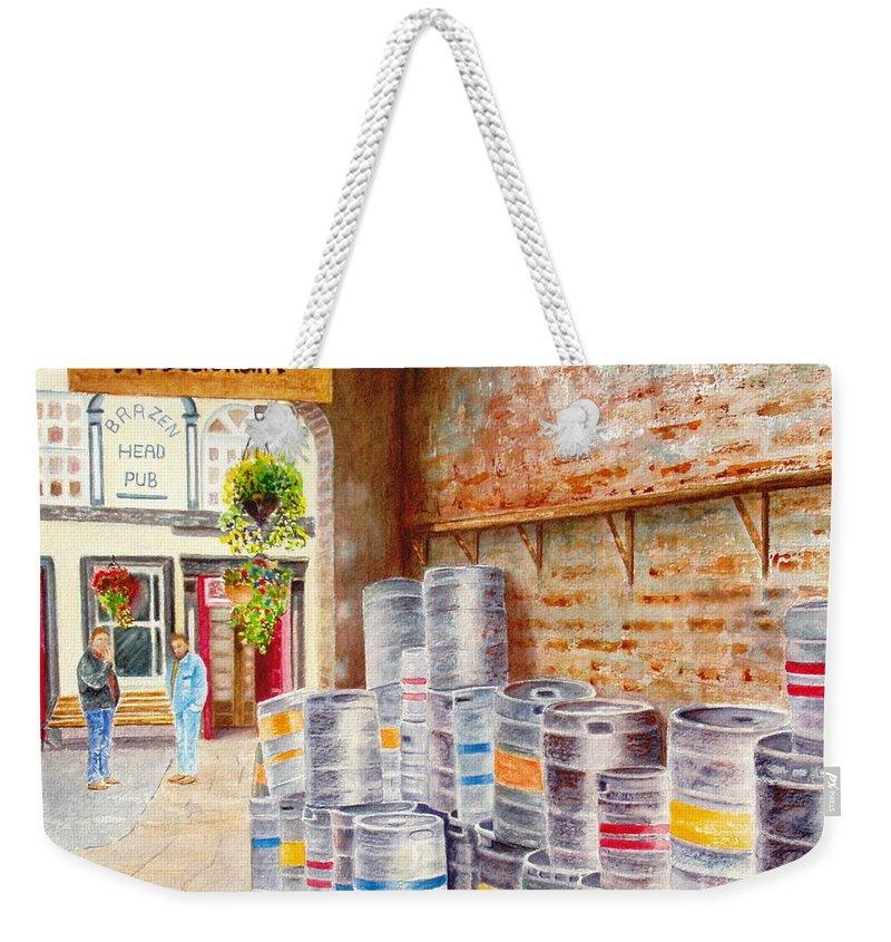 Kegs Weekender Tote Bag featuring the painting Irish Suds by Karen Fleschler