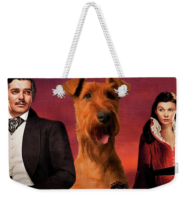 Irish Terrier Weekender Tote Bag featuring the painting Irish Terrier Art Canvas Print - Gone To The Wind Movie Poster by Sandra Sij