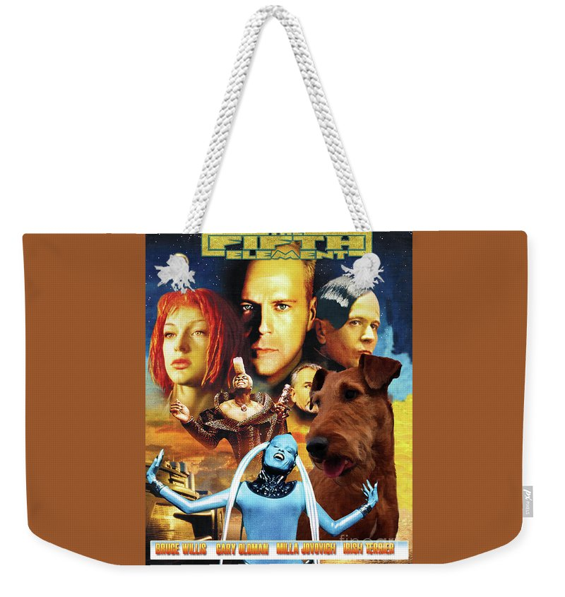 Irish Terrier Weekender Tote Bag featuring the painting Irish Terrier Art Canvas Print - The Fifth Element Movie Poster by Sandra Sij