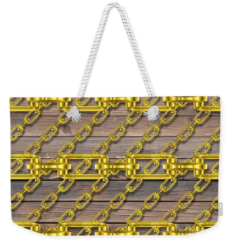 Metal Weekender Tote Bag featuring the digital art Iron Chains With Wood Texture by Miroslav Nemecek
