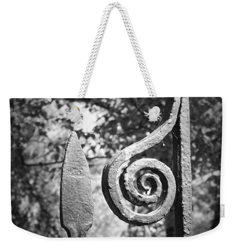 Irish Weekender Tote Bag featuring the photograph Iron Gate Detail County Clare Ireland by Teresa Mucha