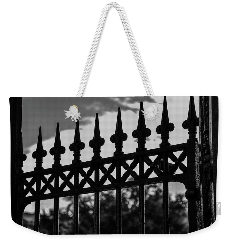New Orleans Weekender Tote Bag featuring the photograph Iron Gate by Jeff Watts