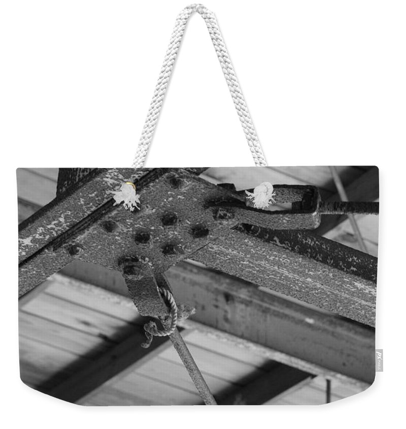 Black And White Weekender Tote Bag featuring the photograph Iron Roof by Rob Hans