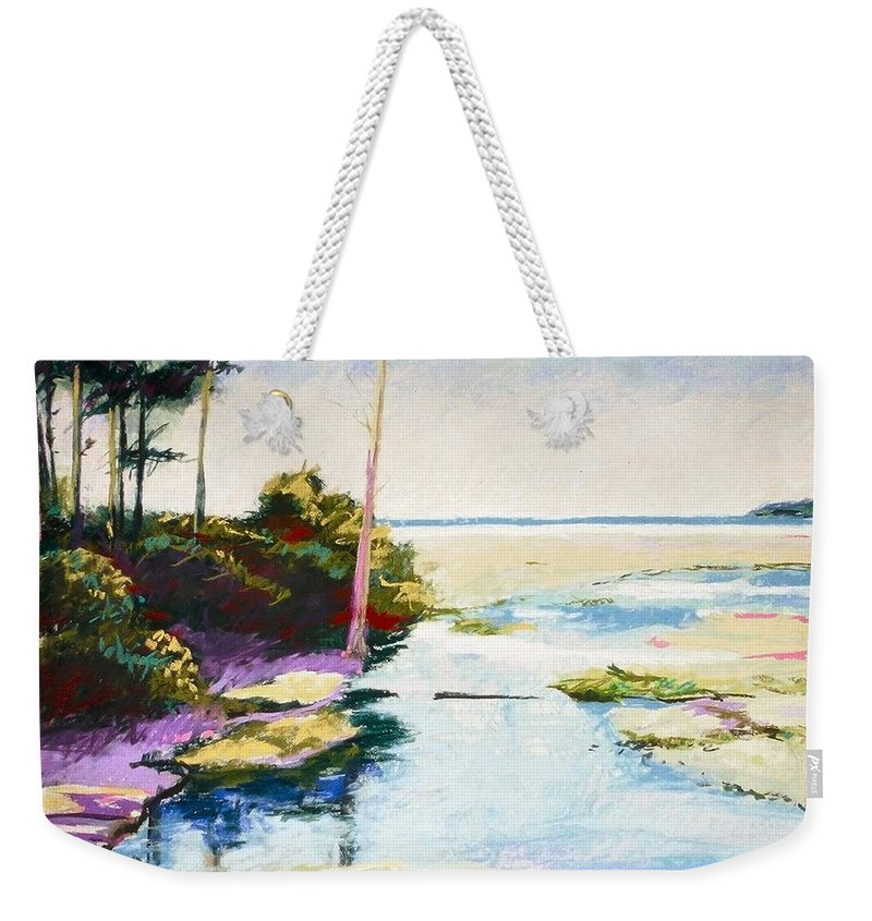 Pastel Weekender Tote Bag featuring the painting Iron Springs by Mary McInnis