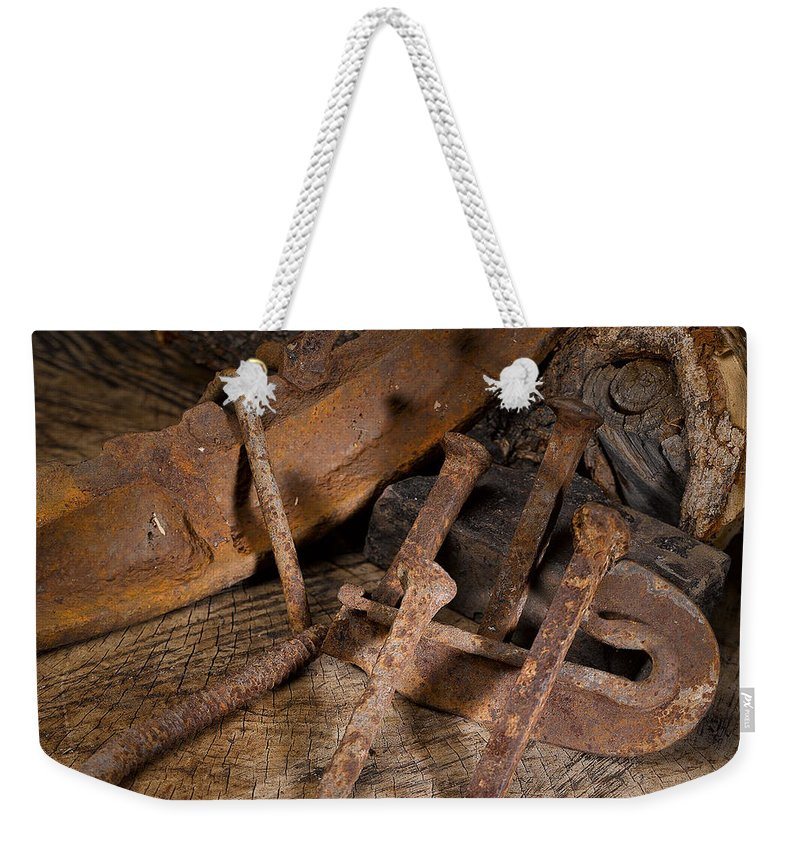 Railroad Weekender Tote Bag featuring the photograph Iron Still Life by Angus Hooper Iii