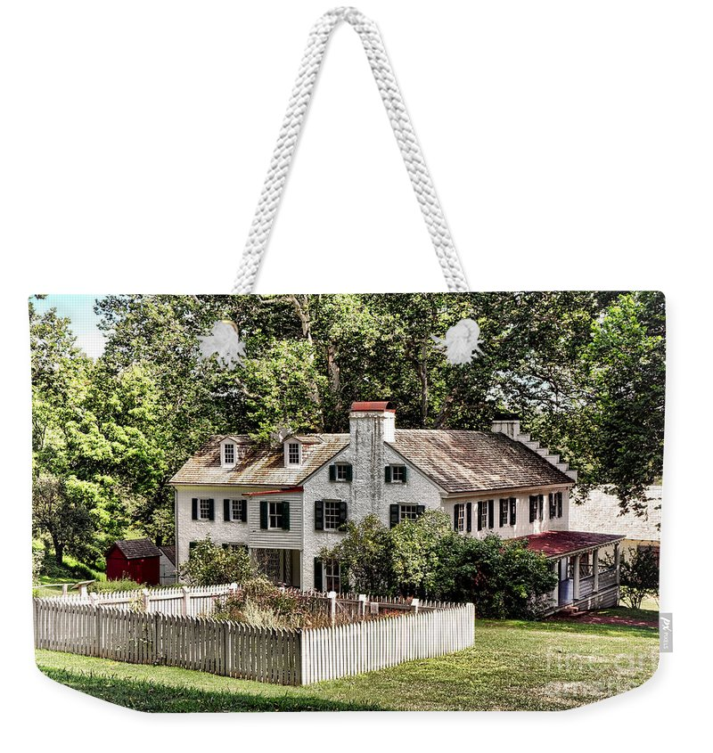 Hopewell Weekender Tote Bag featuring the photograph Ironmaster Mansion At Hopewell Furnace by Olivier Le Queinec