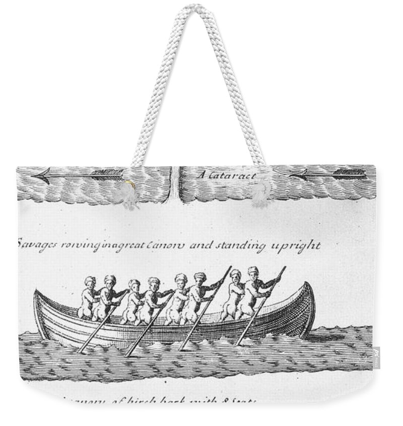 18th Century Weekender Tote Bag featuring the photograph Iroquois Canoes by Granger