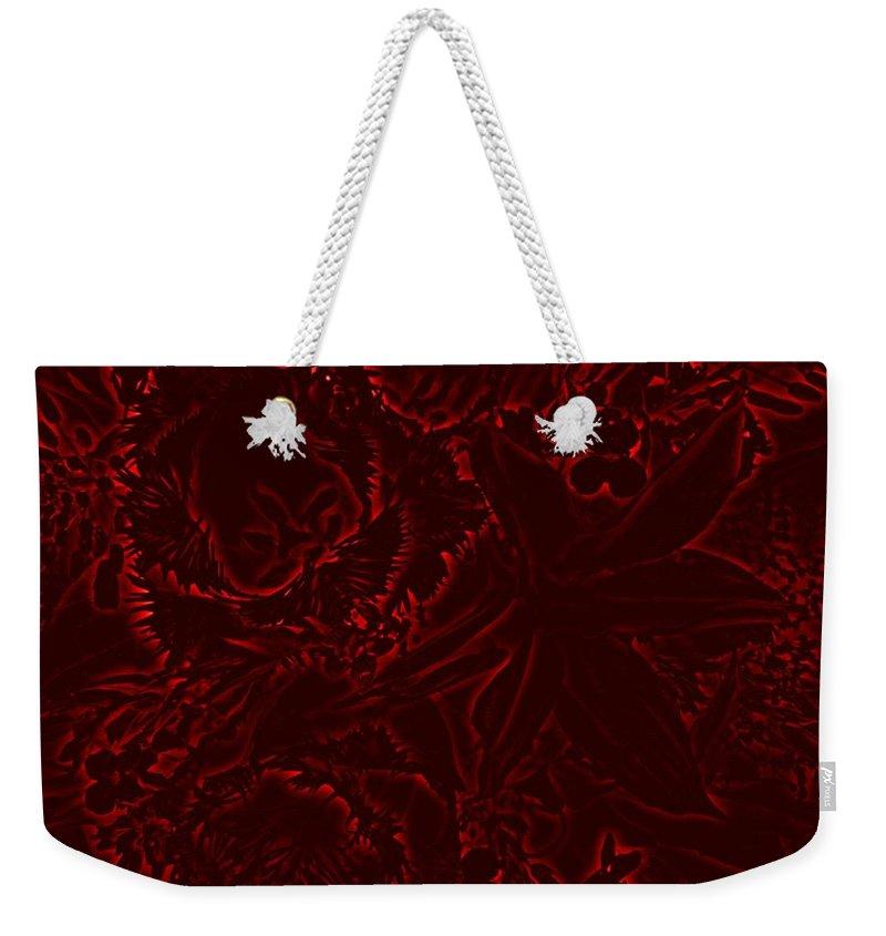 Flowers Weekender Tote Bag featuring the digital art Irridescent Red by Tim Allen