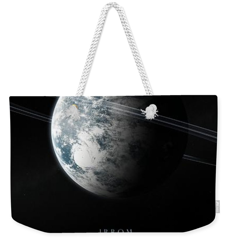 Irrom Space Planets Moons Stars 000 0x1200 Weekender Tote Bag featuring the digital art Irrom Space Planets Moons Stars 100200 3840x1200 by Mery Moon