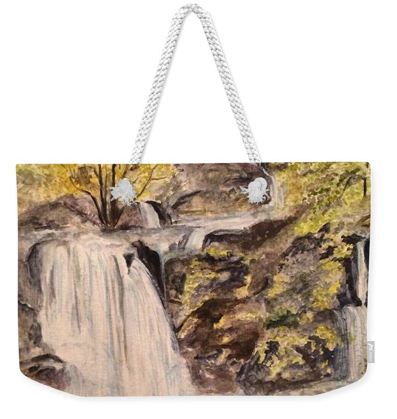 Waterfalls Weekender Tote Bag featuring the painting Iruppu Falls by Vinaya Kini