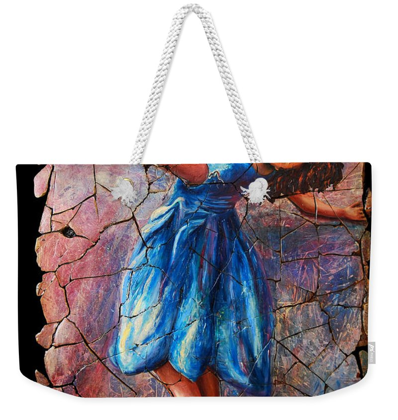 Isadora Duncan Weekender Tote Bag featuring the painting Isadora Duncan - 1 by OLena Art Lena Owens