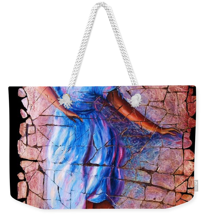 Isadora Duncan Weekender Tote Bag featuring the painting Isadora Duncan - 3 by OLena Art Lena Owens