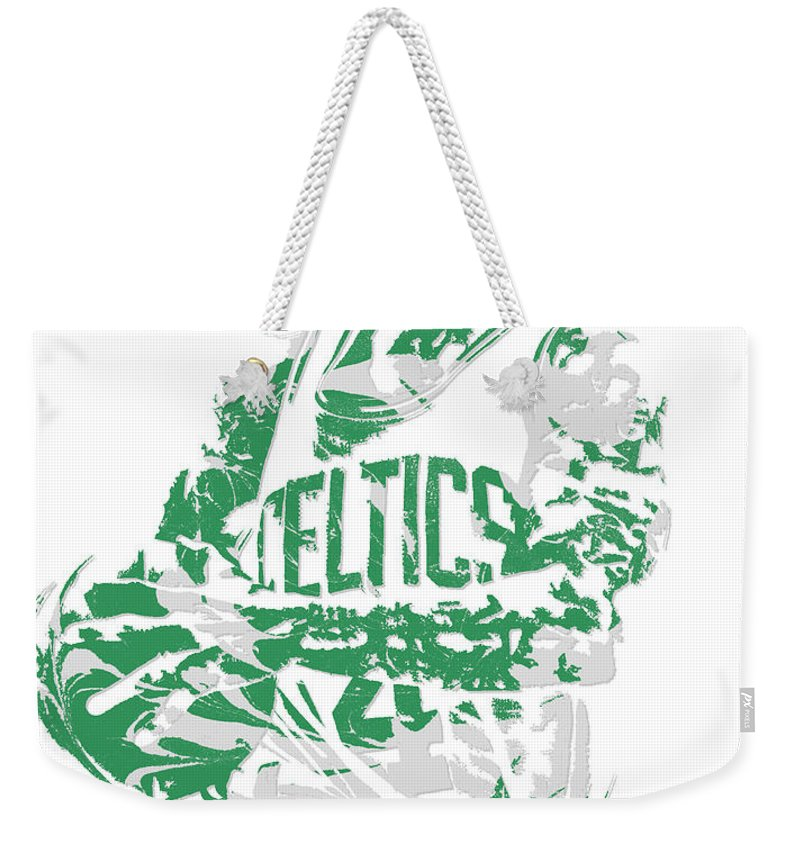 Isaiah Thomas Weekender Tote Bag featuring the mixed media Isaiah Thomas Boston Celtics Pixel Art 15 by Joe Hamilton