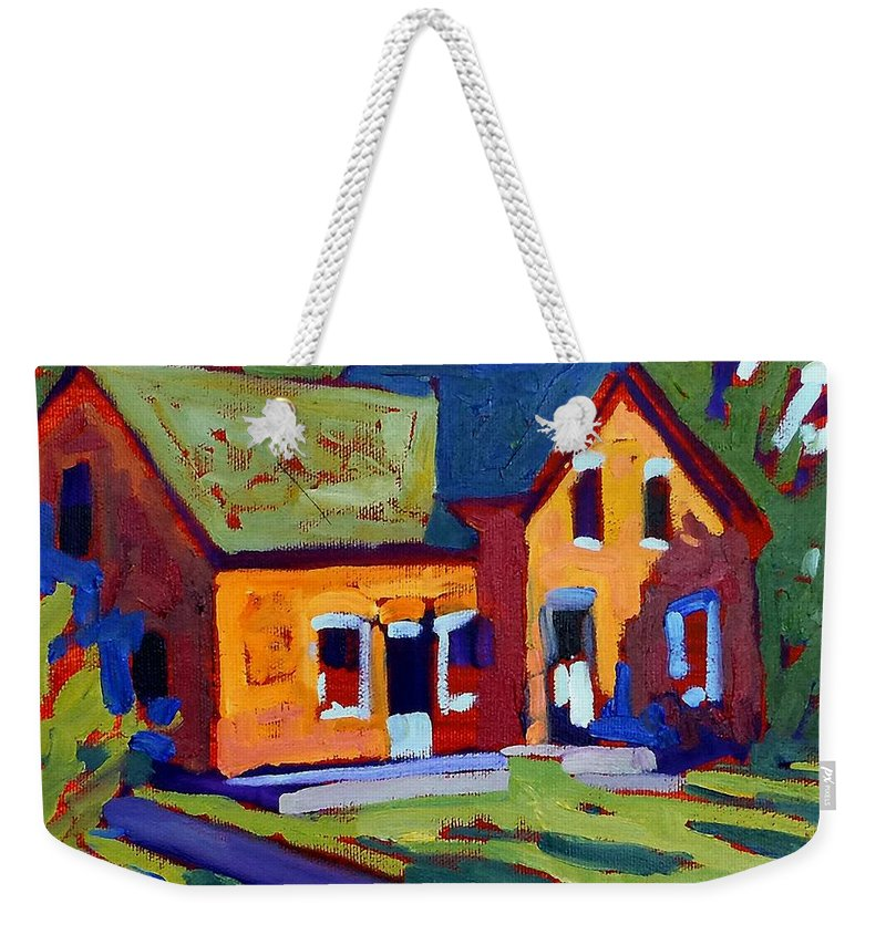 Isaiah Weekender Tote Bag featuring the painting Isaiah Tubbs Neighbour by Phil Chadwick