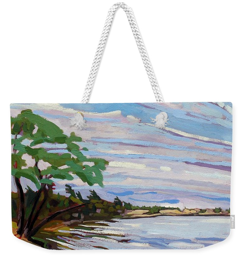 Isaiah Weekender Tote Bag featuring the painting Isaiah's Beach by Phil Chadwick